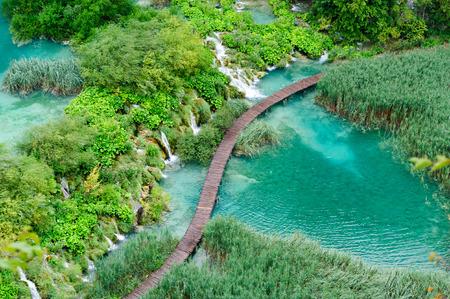 plitvice: Bird view of beautiful waterfalls in Plitvice Lakes, National Park of Croatia