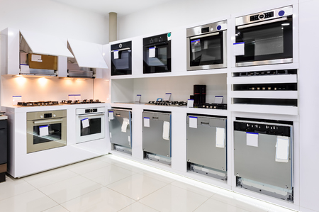 oven range: Gas and electric ovens, stoves and other appliance or equipment in the retail store showroom