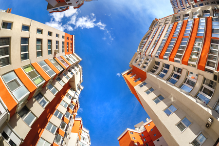 Fisheye shot of new apartments buildings exterior