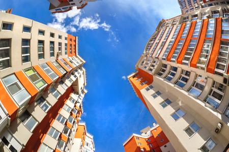 Fisheye shot of new apartments buildings exterior