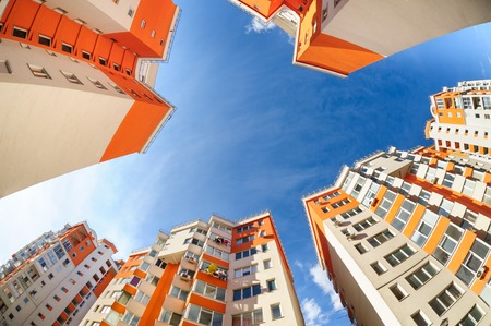 fisheye: Fisheye shot of new apartments buildings exterior