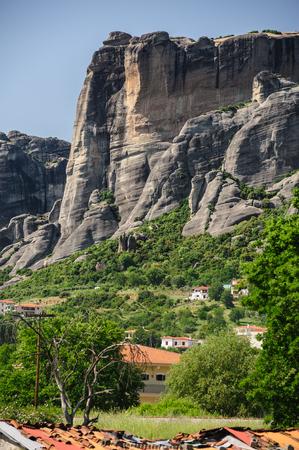 kalambaka: Edge of Kalambaka city with rocky mountains of Meteora at background