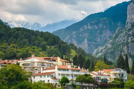 olympus: Litochoro town and olympus mountains in greece