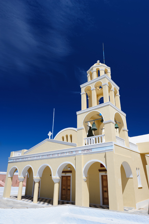 ia: St George Church, Oia or Ia, Santorini Greece Stock Photo