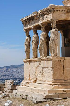 caryatids: Six Caryatids or karyatides at Porch of the Erechtheion in Acropolis at Athens. Stock Photo