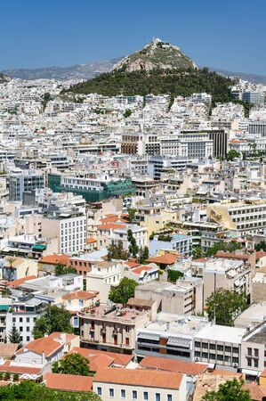 modern architecture: Cityscape of Athens, Greece with Lycabettus Hill at background