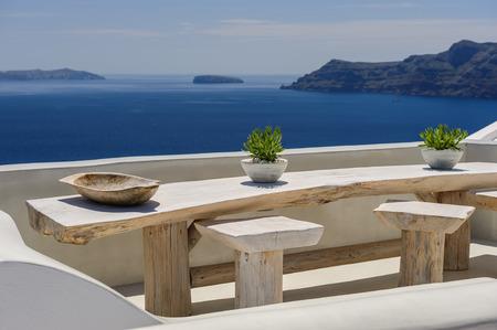 greek pot: Luxury decks and patios of Oia, Santorini, Greece