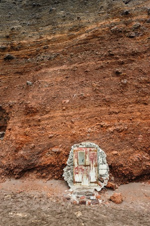 santorini greece: Doors at Red Beach, is one of the most beautiful and famous beaches of Santorini, Greece