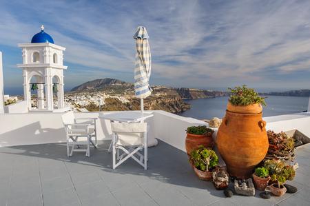 firostefani: View from Firostefani village, Santorini Greece. Copyspace