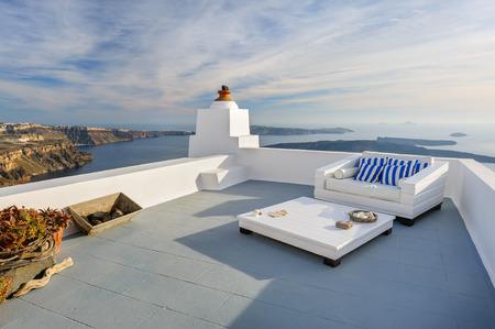 firostefani: View of Firostefani luxury decks and patios, Santorini Greece. Copyspace