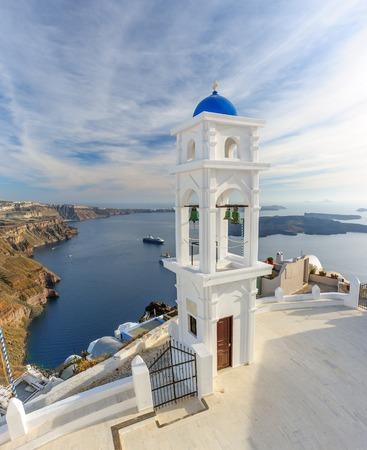 firostefani: Blue and white orthodox church bell tower. Firostefani, Santorini Greece. Copyspace