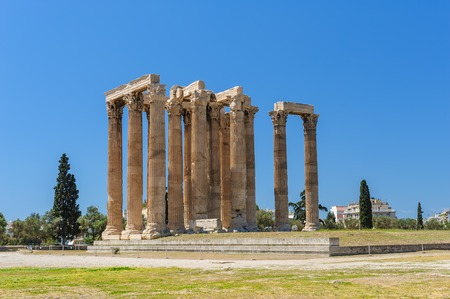 olympian: Ruins of Olympeion, Ancient Temple of Olympian Zeus. Athens Greece.