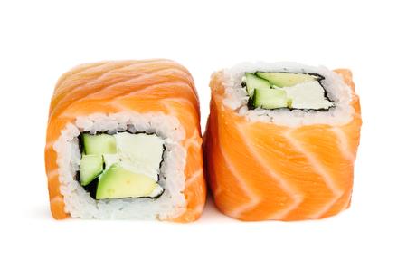 maki: Uramaki maki sushi, two rolls isolated on white. Salmon with philadelphia, avocado and cucumber