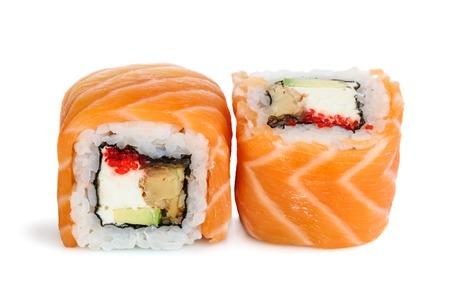Uramaki maki sushi, two rolls isolated on white. Salmon with philadelphia, avocado, eel and tobico