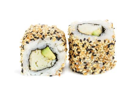 maki sushi: Uramaki maki sushi, two rolls isolated on white. Philadelphia cheese, crab meat, avocado and sesame