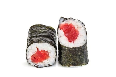 maki sushi: Simple maki sushi, two rolls isolated on white. Just nori, rice and tuna Stock Photo