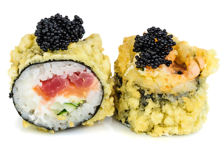 fried: Tempura hot fried sushi maki with tuna, salmon, avocado, cucumber and cream cheese, topped with black tobiko, isolated on white background Stock Photo