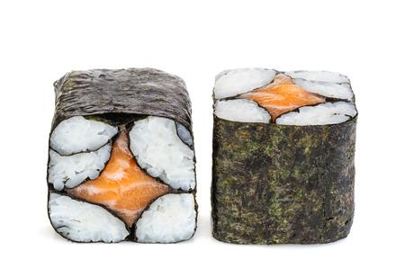 sake maki: Simple maki sake sushi, two rolls isolated on white. Just rice, nori and salmon in center romb star shaped. Stock Photo