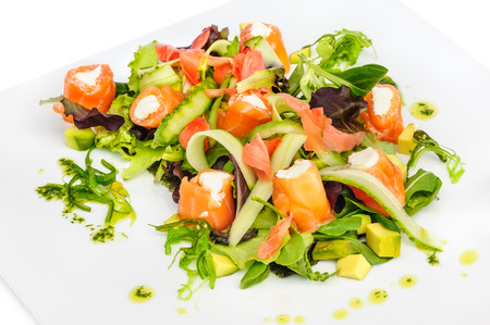 cream cheese: Salmon salad with cream cheese, sea weed and fresh vegetables such as cucumber, spinach, avocado