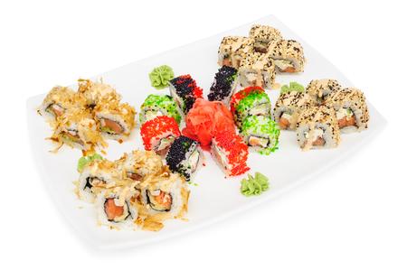 sushi set: Maki sushi set assorrted rolls isolated on white. Stock Photo