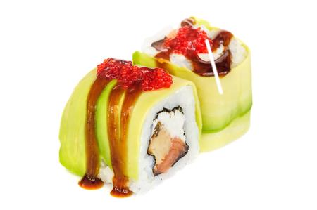maki sushi: Uramaki maki sushi, two rolls isolated on white. Avocado with oyster sauce and ikura outside, philadelphia chheese, eel inside.