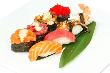 sushi set: Sushi set assorrted rolls on solated on white background Stock Photo