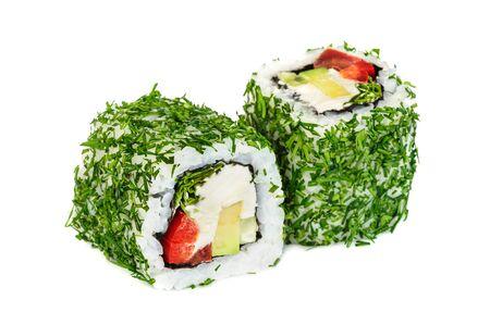 red bell pepper: Uramaki vegetable maki sushi with dill, two rolls isolated on white. Letuce, philadelphia cheese, avocado, red bell pepper