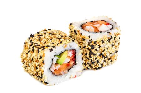 Uramaki maki sushi, two rolls isolated on white. Philadelphia cheese, crab meat, salmon, tobiko, avocado and sesame Stock Photo