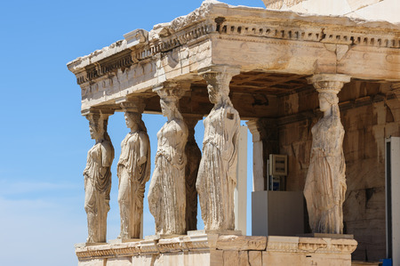 Six Caryatids or karyatides at Porch of the Erechtheion in Acropolis at Athens. Stok Fotoğraf