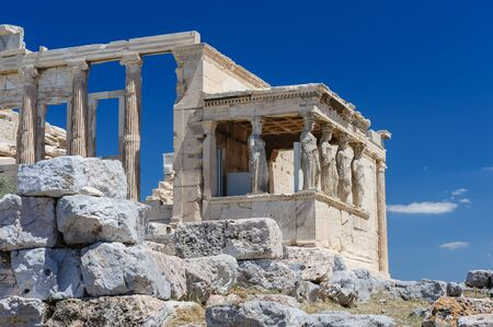 Six Caryatids or karyatides at Porch of the Erechtheion in Acropolis at Athens. Stock Photo