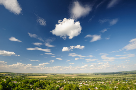 Road and agricultural fields, typical landscape in Republic of Moldova Stock Photo