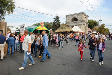moldovan: Chisinau, Republic of Moldova - October 1, 2016: Celebration of National Wine Day at the Great National Assembly Square of the Moldovan capital Editorial
