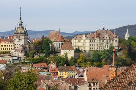 View over the cityscape and roof architecture in Sighisoara town, Romania