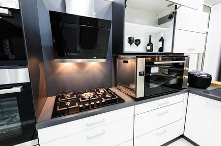 Modern luxury hi-tek black and white kitchen interior, clean design Stok Fotoğraf