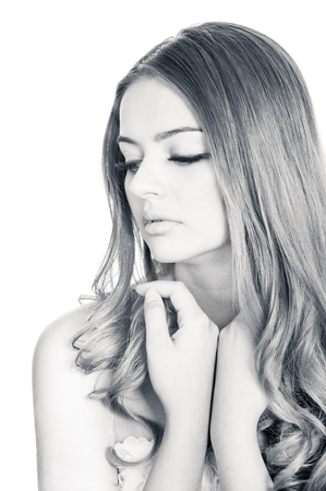 tenderness: Tender and sensual young beautiful woman, slightly toned black and white portrait Stock Photo
