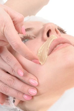 beauty salon, facial hair or mustache depilation, skin treatment and care