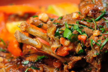 yeanling: Roasted lamb carre covered with vegetable stew, selective focus Stock Photo