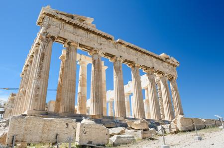 corinthian column: Parthenon columns at sky background