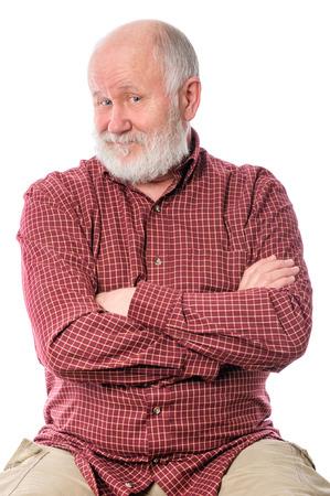 cheerfull: Cheerfull senior man isolated on white Stock Photo