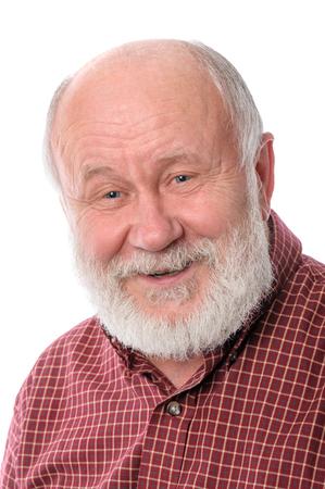 Cheerfull senior man isolated on white Stock Photo