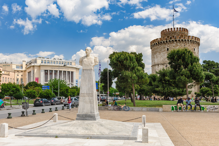 White Tower and admiral Votsis statue, Thessaloniki, Greece
