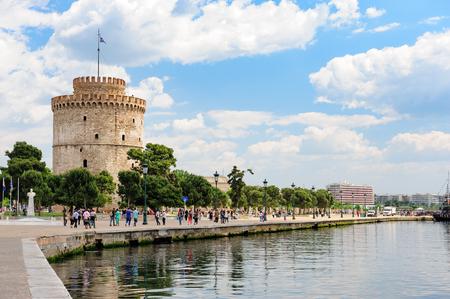 People walking near White Tower, Thessaloniki, Greece