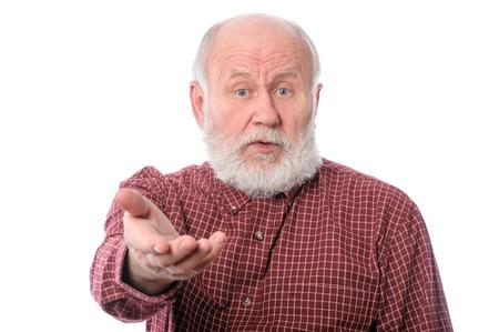 Senior man making claims, isolated on white