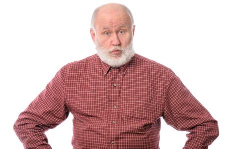 Surprised senior man isolated on white