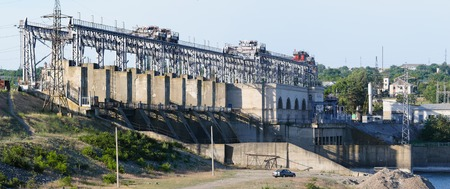 Hydroelectric power plant at river Dniester, Moldova.