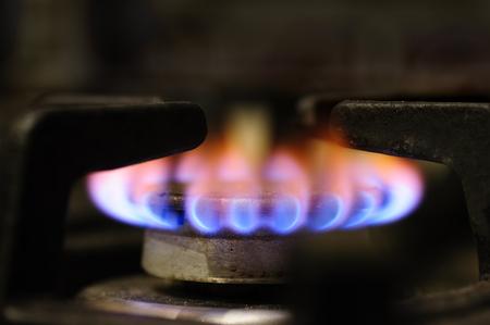 gas stove burner closeup