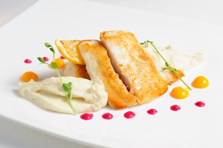 Fried zander with celery puree Stock fotó