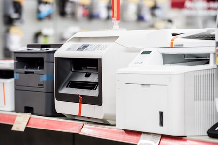 Fiew laser printers in electronic computer store