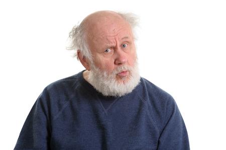 Puzzled senior man portrait isolated on white