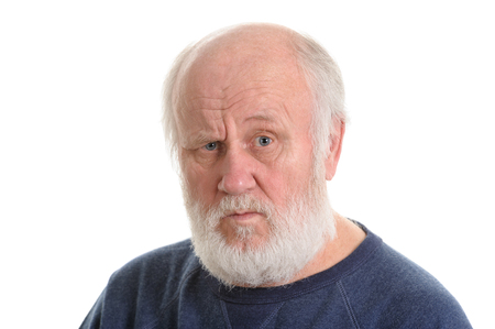 dissatisfied displeased old man isolated portrait Imagens